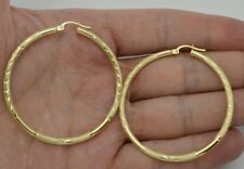 2'' 10k Solid Yellow Gold big Large hoop Diamond Cut Earrings 50mm x3MM 2.7GR