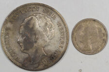 New listing 1901 10c Netherlands 1923 1 Gulden Silver Lot Of 2 - Circulated