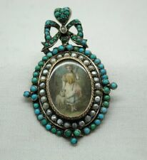 Early Antique Silver & Gold Miniature Painting Brooch With Turquoise And Pearls