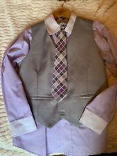 Akademiks boys sz 7 dress shirt, vest and tie - lavender/gray pinstriped EUC