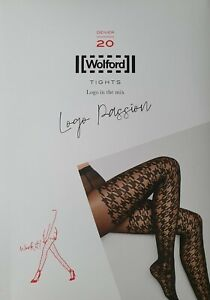 LUXUS PUR: WOLFORD Tights LOGO PASSION 14819, L,fairly light-black,NEU&OVP 39,00