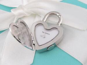 New Tiffany & Co Stainless Steel Return To Heart Watch Padlock Charm Pendant Box
