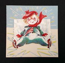 Fallen Ice Skater Vintage Mid-Century Card Mart UNUSED Christmas Stars Skates