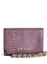 NEW G BY GUESS MCKENNA PURPLE WINE LEATHERETTE,SNAKE,PHONE,FLAP,WRISTLET,WALLET