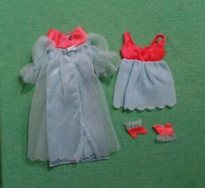 Vintage Barbie Clothes- MOD Era Barbie 1489 Cloud Nine Robe, Gown, & House Shoes