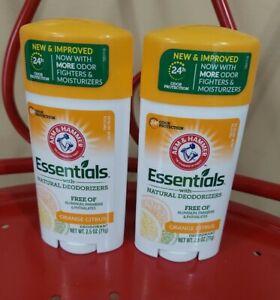 2 ARM & HAMMER Essentials Deodorant, Crisp Orange Citrus, 2.5 OZ Each