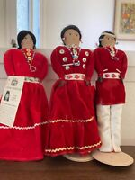 Vintage handcrafted Navajo Dolls, Native American Indian signed.