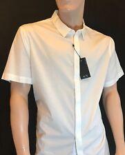 "BNWT ARMANI Exchange Men's White Short Sleeve Slim Fit Stretch Shirt Chest 42"""