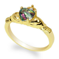Ladies 14K Yellow Gold 0.75ct Rainbow Topaz Solid Claddagh Ring Size 4-10