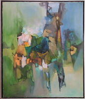 """G.K. PANDIT INDIA 1970 MODERN ABSTRACT """"LANDSCAPE"""" PAINTING BOMBAY ART SOCIETY"""