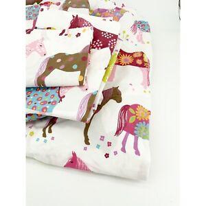 Garnet Hill Painted Ponies 4 Pc Queen Sheet Set Pink Purple Horses Equestrian