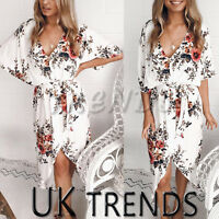 UK Womens Summer Tie Belt Split Midi Floral Print Dress Ladies Holiday Size 6-14
