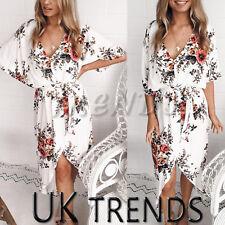 UK Womens Summer Tie Belt Split Midi Floral Print Dress Ladies Holiday Size 6-14