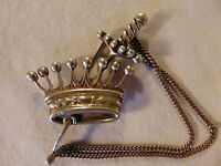 Sterling Silver Pin Brooch Denmark Vintage Sword Crown Chain