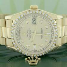 Rolex President Day-Date Yellow Gold 36MM 18038 w/Champagne Diamond Dial & Bezel