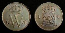 Netherlands - 1 Cent 1876 Prachtig+ ~ variant met open 6 van jaartal
