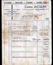 """SAINT-AMAND-MONTROND (18) PLATRERIE PEINTURE VITRERIE """"Camille JACQUIN"""" en 1947"""