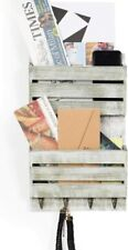 Rustic Wood Mail Holder 4 Key Hooks Entryway Wall Organizer for Letter Magazines