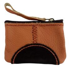 Women's Small Brown and Tan Leather Coin Purse or Wristlet