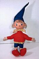 """NODDY Vintage PEDIGREE Felt Cloth Stuffed Doll 12"""" Tall Rubber Head Enid Blyton"""