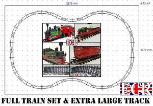 G SCALE 45mm 1:32 GAUGE NEWRAY XL TRACK TRAIN SET B/O LOCO CATTLE TRACTOR TRUCKS