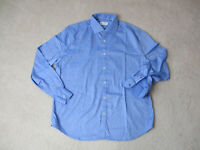 Robert Graham Button Up Shirt Adult Large Light Blue White Casual Office Mens