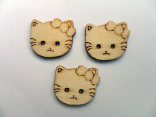 24 PZ HELLO KITTY legno scrapbooking tasti di cucito 19mm