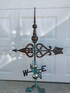 Finial & Arrow Weathervane Antiqued Copper Finish Weather Vane Hand Crafted