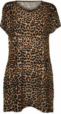 Animal Print Short Sleeve Leopard Tops & Shirts for Women