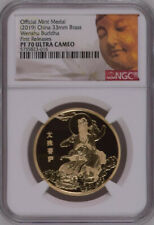 NGC PF70 2019 China Wenshu Buddha Brass Medal Mintage:100 with COA