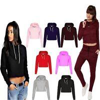 Womens Pullover Fleece Plain Cropped TOP Crop Hoody Sweatshirt Hoodie Jumper