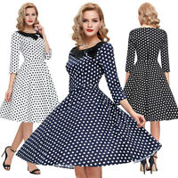 Womens 1940's 1950's Classic Full Circle Dress Casual Swing Dress Size S M L XL