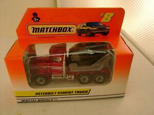 1997 MATCHBOX SUPERFAST #8 PETERBILT CEMENT TRUCK CANDY RED BK BARREL NEW IN BOX