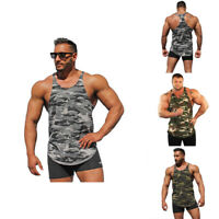 Men Camo Camouflage Muscle Underwear Sleeveless T-Shirt Tank Top Vest Gym Sport