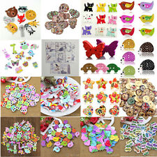 50x Mixed Animal Heart 2 Holes Wood Buttons Sewing Craft Scrapbooking DIY Unique