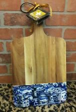ANNIE MODICA Serving Wood Cutting Board IMARI Blue Willow White Art Collectible