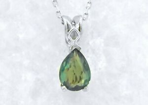 14k White Gold 0.66ct Pear Natural Genuine Alexandrite Pendant 18-in Necklace