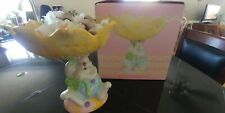 Candy Dish Easter/Spring Bunny Rabbit w/Yellow Flower