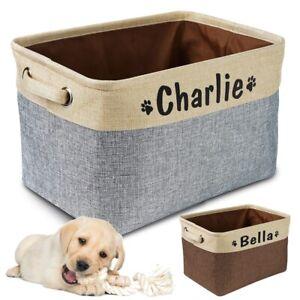 Personalized Pet Dog Toy Storage Basket Dog Canvas Bag Foldable Pet Toys Linen