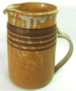 Stoneware Striped JUG Pitcher Hand Thrown DUEY LIBER Sanibel Signed Art Pottery