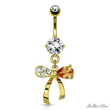 Belly Ring Gold Navel Piercing Stud Pendant Multicoloured Bow Crystal