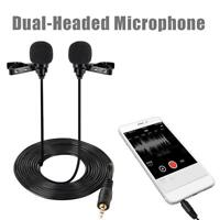 Interview Microphone Dual Headed Recording Clip On Mini For Smartphone Handp