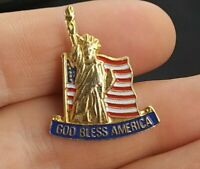 Vintage Fod Bless America Statue of Liberty flag pin pinback button *QQ5