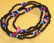 """Black Glass Beaded wtih coral turquoise Mother of pearl shell blue necklace 42"""""""