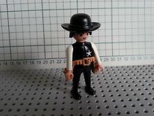 Bonshommes Playmobil-Cow-Boy Western-Shérif, vêtements noirs & chapeau, cheveux noirs