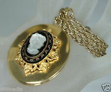 VINTAGE GOLD TONE,VICTORIAN CRYSTAL CARVED CAMEO LOCKET NECKLACE/PENDANT