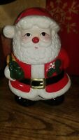Vintage 1990's Santa Claus Holiday Ceramic Hand Painted Cookie Jar By Oggi