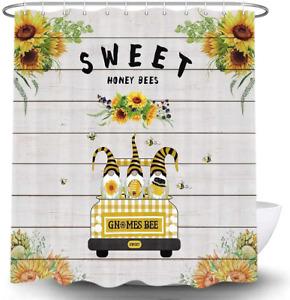 Bee Gnome Shower Curtain for Bathroom, Sunflower Floral Flower Plants Farmhouse
