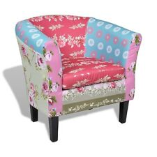 Patchwork Fabric Tub Chair Cottage Floral Lounge Armchair French Upholstery