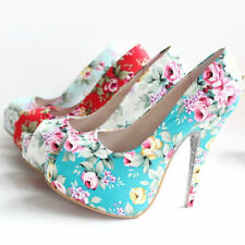 High (3 in. and Up) Open Toe Medium (B, M) Floral Heels for Women